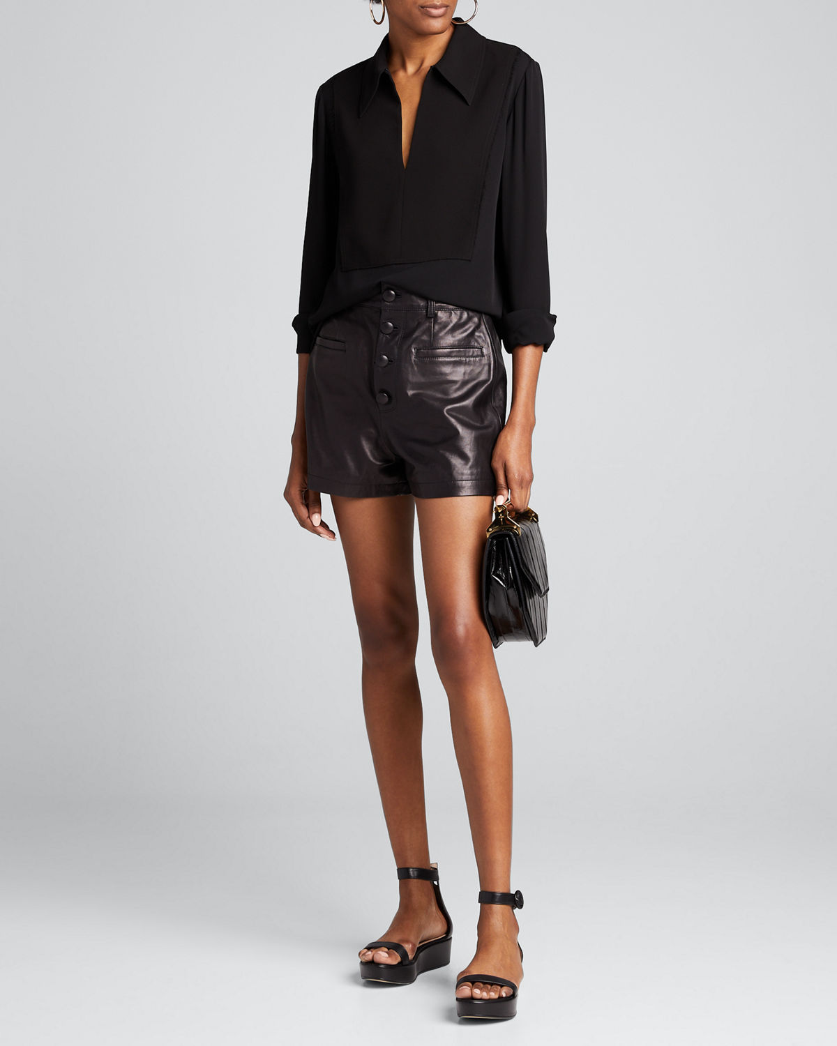 Theory Tops YOKED POPOVER SILK BLOUSE