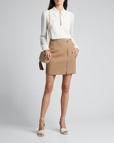 Zip-Front Wool Mini Skirt