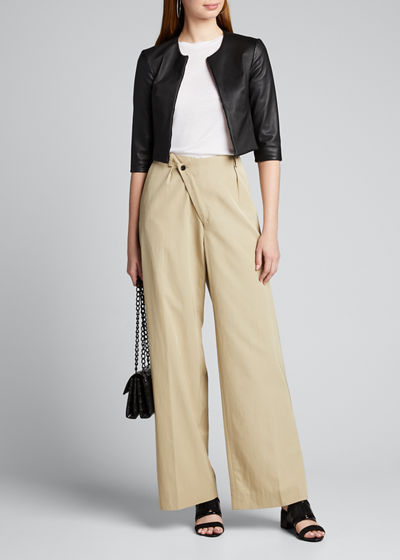 Stretch Leather Zip-Front Cardigan