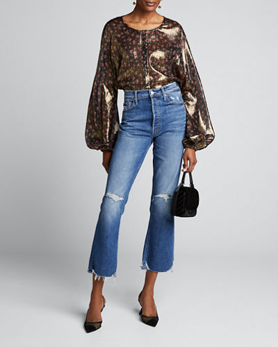 Adeline Floral Print Metallic-Silk Puff-Sleeve Top