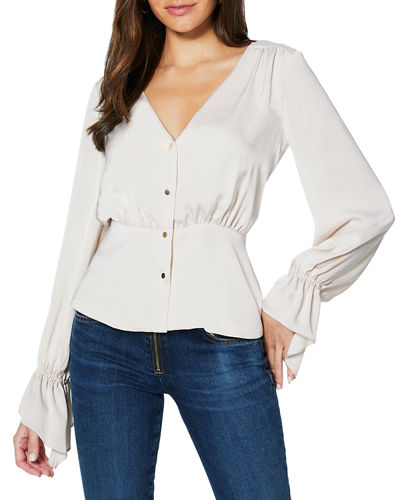 Karen Satin Long-Sleeve Button-Front Top