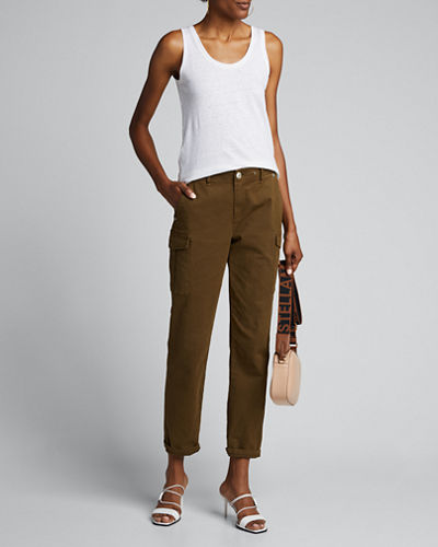 Scoop-Neck Stretch Linen Tank