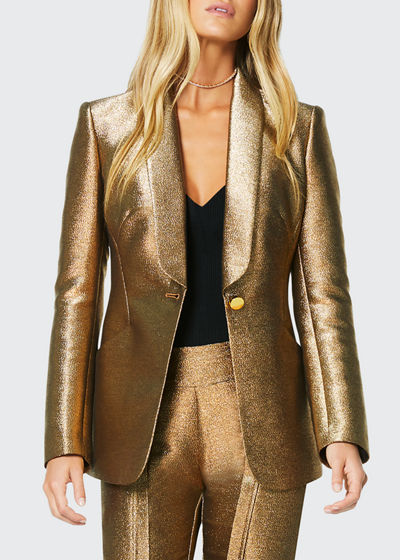 Dahlia Metallic Shawl-Collar Jacket
