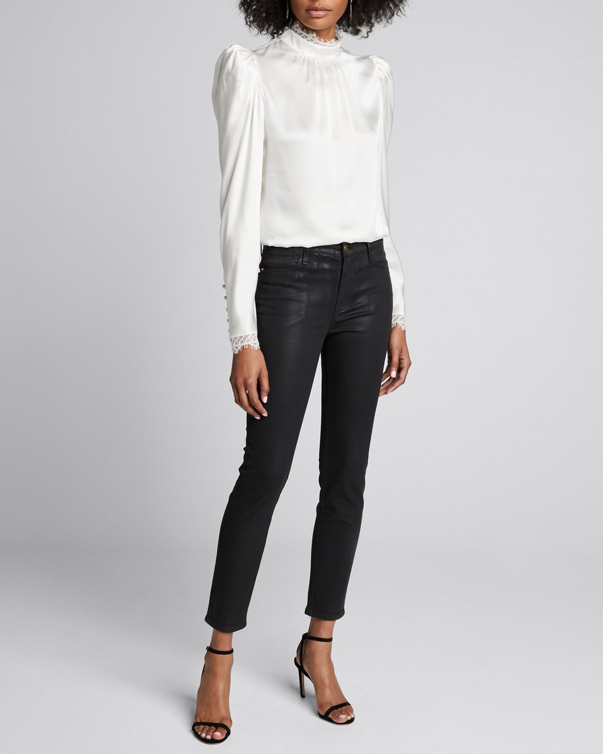 Frame Tops LACE HIGH-NECK LONG-SLEEVE TOP
