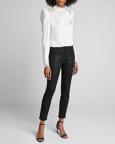 Lace High-Neck Long-Sleeve Top