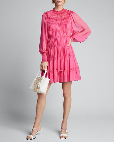 Emmeline Shirred Blouson-Sleeve Silk Dress