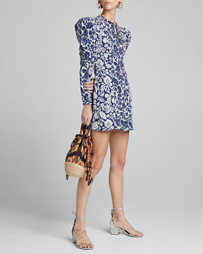 Wren Puff-Sleeve Denim Short Dress