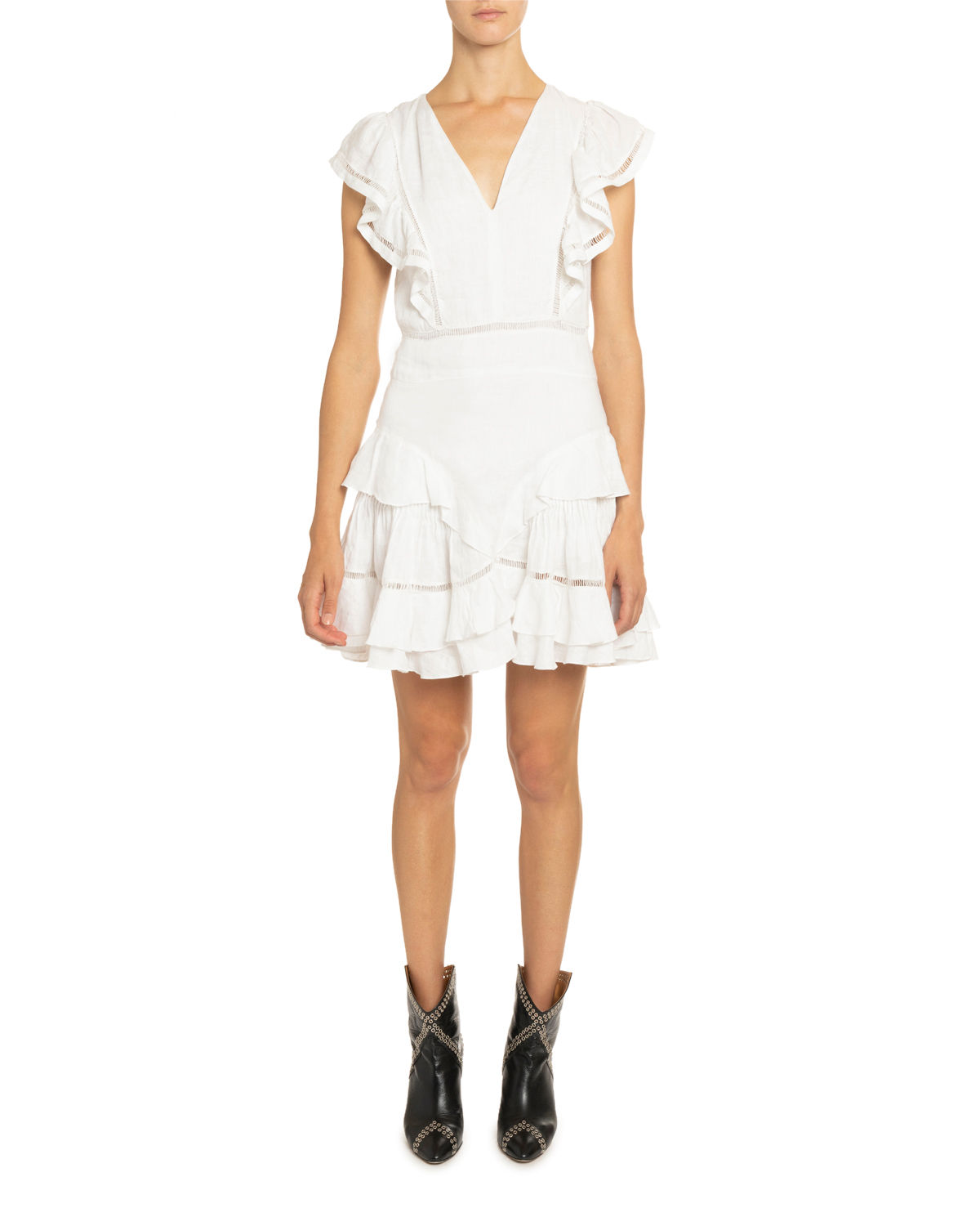 Etoile Isabel Marant Dresses AUDREY LINEN RUFFLE-TIERED DRESS