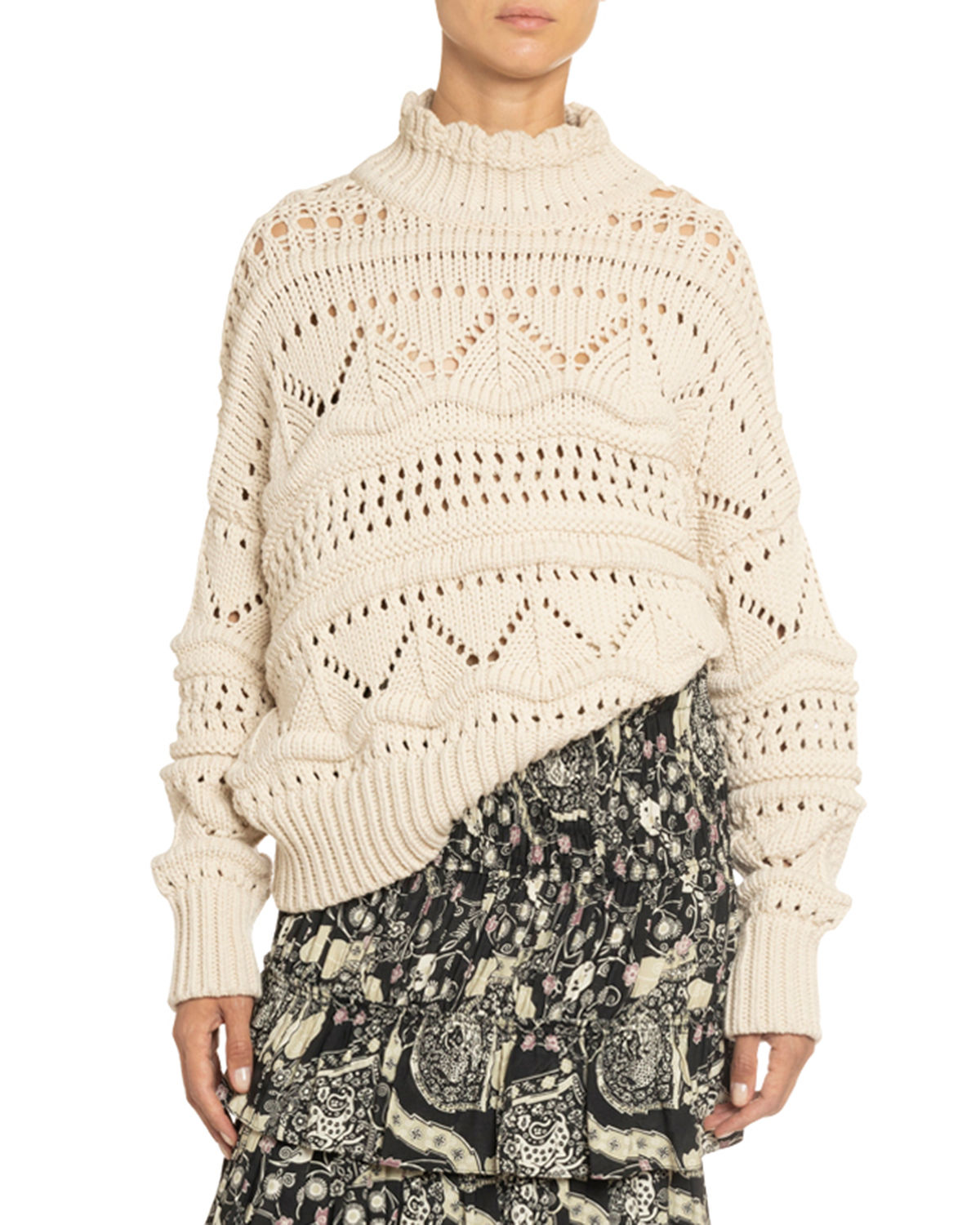 Etoile Isabel Marant Knits NAKA OPEN-KNIT TURTLENECK SWEATER