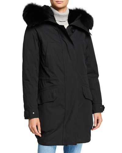 Detachable Fur-Ruff Hooded Parka