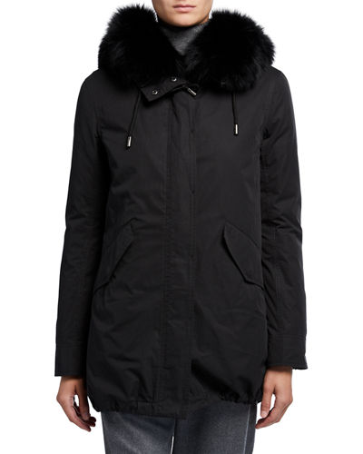 Removable Fox Fur-Trim Hooded Parka w/ Rabbit Lining