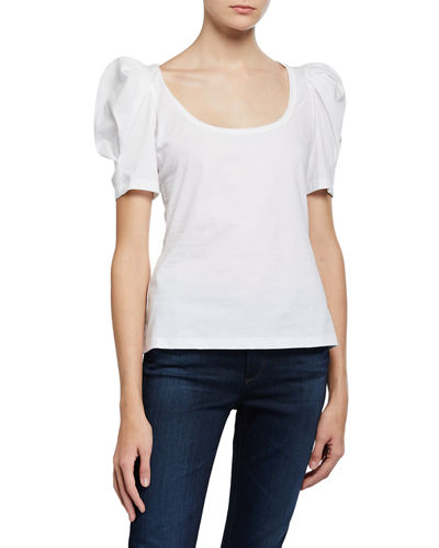 Rumi Scoop-Neck Puff-Sleeve Tee
