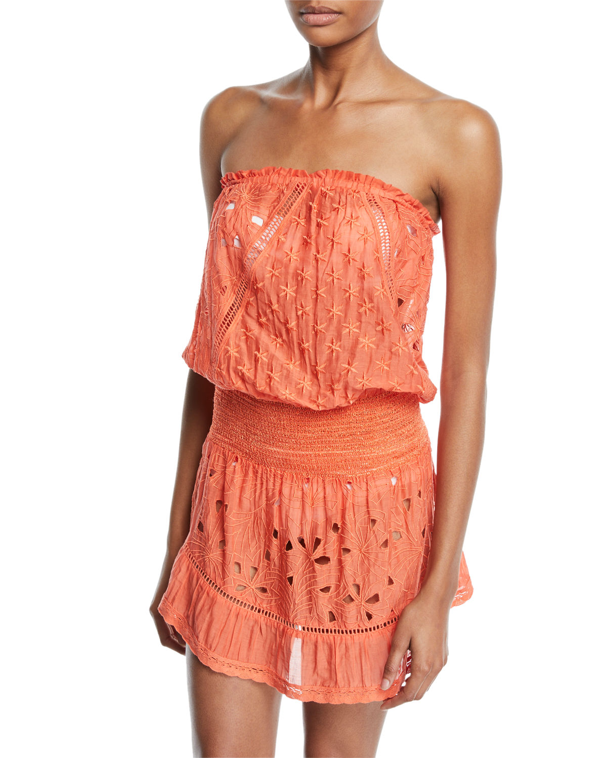 Ramy Brook Dresses KALANI EMBROIDERED STRAPLESS COVERUP DRESS