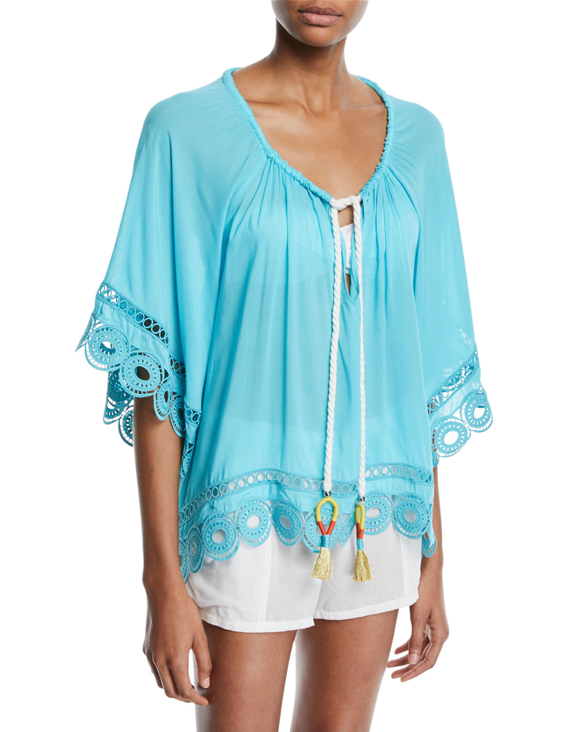 Ramy Brook Tops DIMITRI TIE-FRONT EMBROIDERED TUNIC