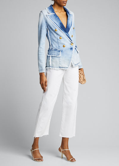 Kaydence Double-Breasted Frayed Denim Blazer