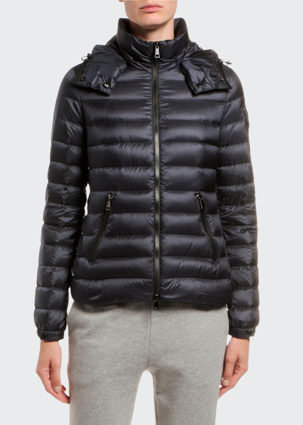 MONCLER BLEU FITTED PUFFER COAT W/ DETACHABLE HOOD