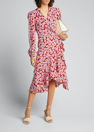 Carla Two Printed Long-Sleeve Wrap Dress