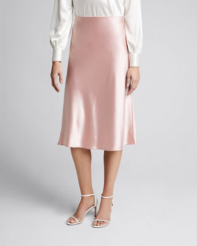 Mila Hammered Satin Bias Skirt