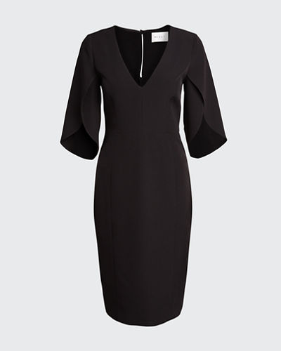 Jana V-Neck Tulip-Sleeve Cady Sheath Dress