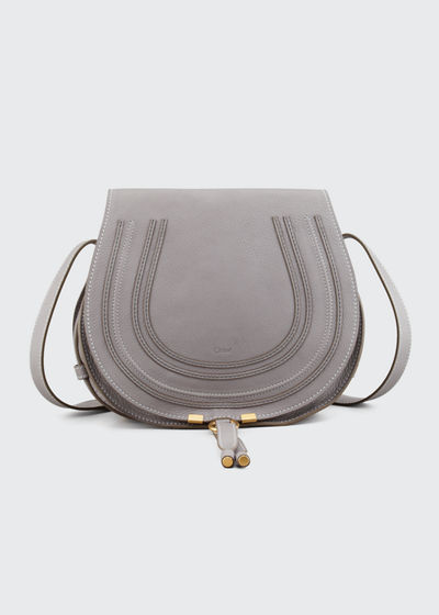 Marcie Medium Leather Crossbody Bag, Gray