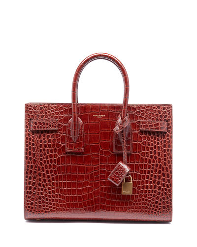 Sac de Jour Baby Crocodile-Embossed Leather Satchel Bag