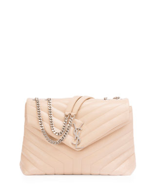 Beige Loulou small quilted leather shoulder bag Saint Laurent
