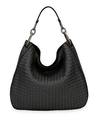 Large Loop Intrecciato Leather Shoulder Hobo Bag, Black