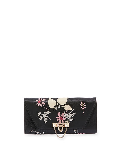 Demilune Embroidered Chain Clutch Bag