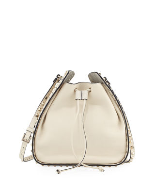 Large Rockstud Leather Bucket Bag - Ivory in Neutrals