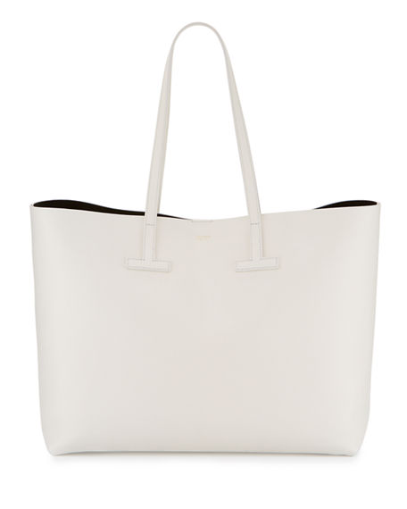 d709dd9fdc Tom Ford Saffiano Medium Leather T Tote Bag In White | ModeSens