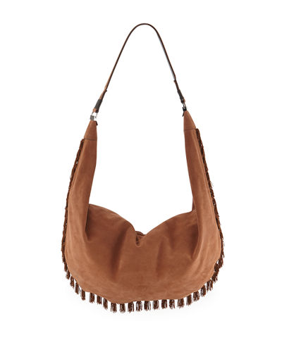 Sling 15 Fringe-Trim Suede Hobo Bag