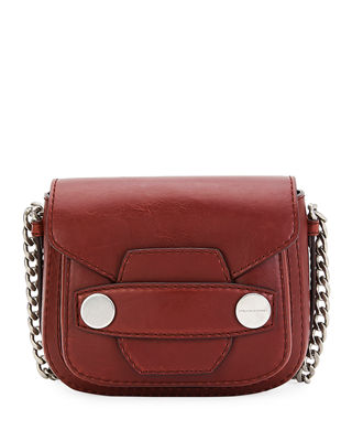 Popper Medium Faux-Leather Crossbody Bag, Brick in Red