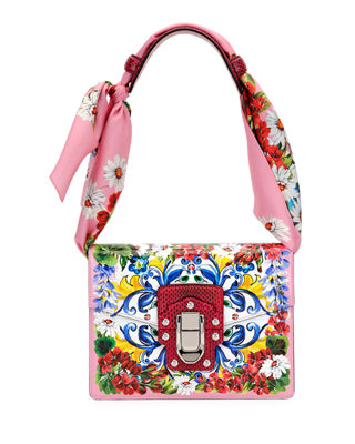 Lucia Printed Textured-Leather And Watersnake Shoulder Bag And Silk-Twill Scarf Set, Pink Pattern