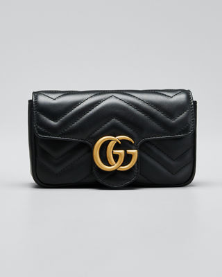 Supermini Gg Marmont 2.0 Matelasse Leather Shoulder Bag - Black