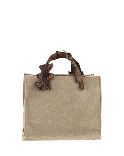 Greta Canvas Tote Bag w/Crocodile Handles