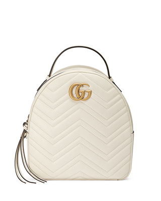 Pre-Owned: Gg Marmont Backpack Matelasse Leather Small, White Chevron Leather