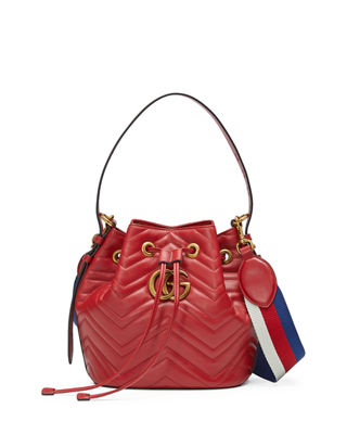 Gg Marmont Chevron Quilted Leather Bucket Bag, Red