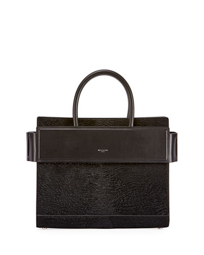 Horizon Small Astrakhan-Embossed Leather Satchel Bag