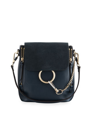 Faye Small Leather/Suede Backpack, Blue
