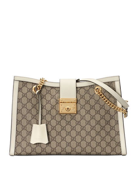 5d9a30d35c63 Gucci Medium Padlock Gg Supreme Canvas Tote - Beige In Beige Ebony  Mystic  White