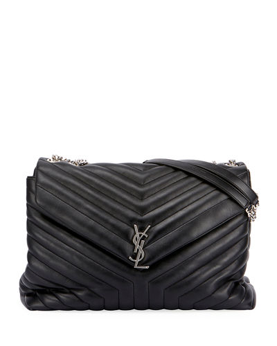 Loulou Monogram YSL Large V-Flap Chain Shoulder Bag - Nickel Oxide Hardware