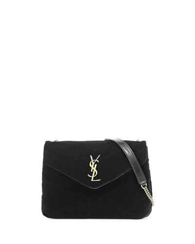 ad10029dd5 Saint Laurent LouLou Monogram Small Velvet Shoulder Bag