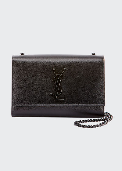 Kate Small Grain de Poudre Chain Shoulder Bag, Black Hardware