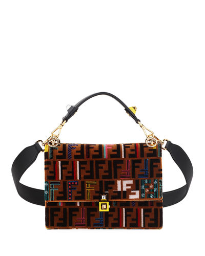 5076548cb7 Fendi Kan I Medium Velvet Shoulder Bag