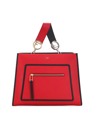 Small Runaway Calfskin Leather Satchel - Red