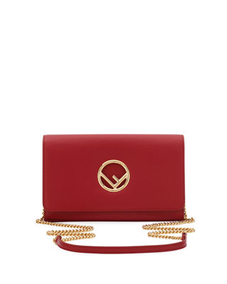 FENDI F Seal Leather Wallet On A Chain, Red