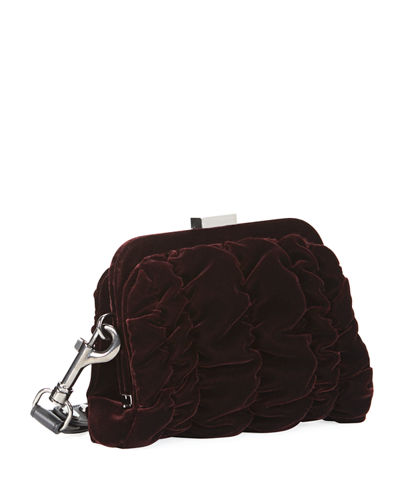 Quilted Velvet Wristlet Clutch Bag