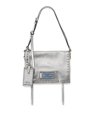 Small Studded Glace Calf Etiquette Shoulder Bag in Cromo Astrale