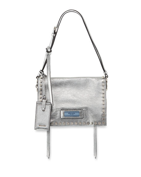 ac34ec15255 Prada Small Studded Glace Calf Etiquette Shoulder Bag In Cromo Astrale