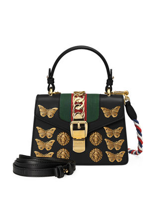 Sylvie Small Top-Handle Satchel Bag With Animal Embellishments in Black